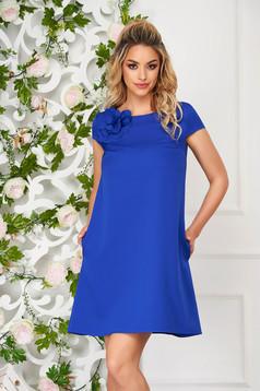Kék StarShinerS rövid hétköznapi ruha rugalmas szövetből zsebekkel