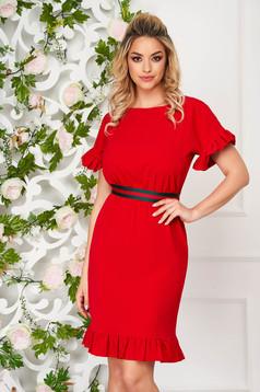 Piros StarShinerS elegáns rövid ruha szövetből egyenes fodros ujjakkal