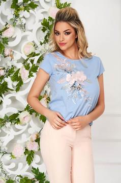 Világoskék StarShinerS casual bő szabású póló virágos hímzés 3d