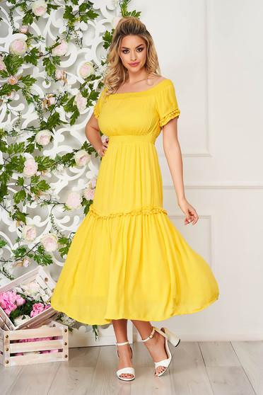 Sárga midi hétköznapi harang ruha gyűrött anyagból