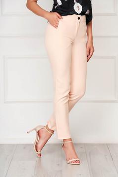 Púder rózsaszínű irodai zsebes nadrág szövetből egyenes