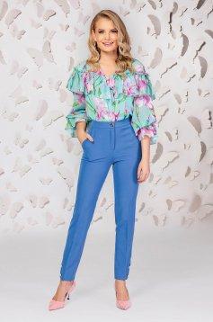 Kék elegáns egyenes zsebes nadrág