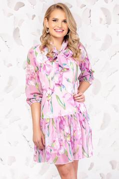 Pink elegáns hétköznapi rövid harang ruha háromnegyedes ujjakkal vékony anyag