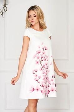StarShinerS világos lila elegáns rövid ruha enyhén rugalmas virágmintás szövetből
