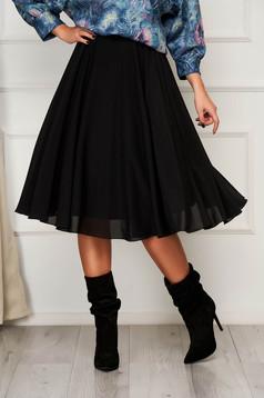 Fekete StarShinerS elegáns midi harang szoknya muszlinból magas derekú