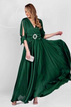 Hosszú petrol zöld alkalmi muszlin ruha harang alakú gumirozott derékrésszel kivágott ujjrész