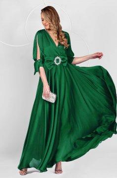 Hosszú petrol zöld alkalmi muszlin ruha harang alakú gumirozott derékrésszel kivágott ujjrésszel