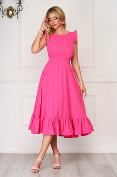Pink StarShinerS elegáns midi ruha szövetből