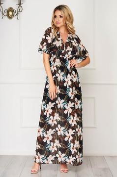 Fekete maxi ruhák hétköznapi harang ruha muszlinból pillangó típusú ujjakkal