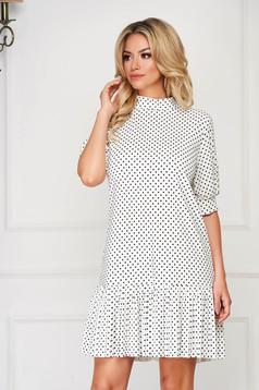 Fehér rövid hétköznapi bő szabású ruha pöttyös vékony anyagból