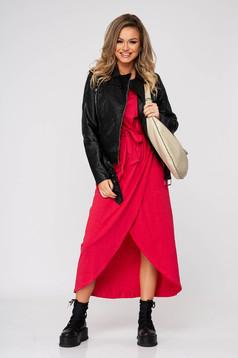Pink hétköznapi ruha rugalmatlan pamutból elasztikus derékrésszel rövid ujjakkal