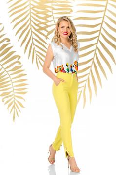 Sárga elegáns kónikus nadrág enyhén rugalmas anyagból magas derekú