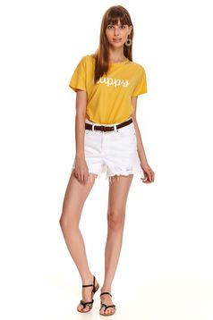 Sárga casual pamutból készült bő szabású póló feliratokkal díszített