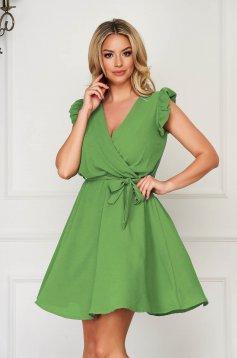 Zöld rövid hétköznapi elegáns ujjatlan harang ruha vékony anyagból