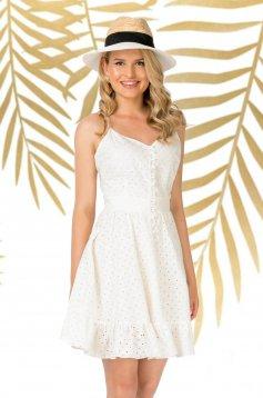 Fehér hétköznapi pántos harang ruha rugalmatlan pamutból fodrokkal a ruha alján