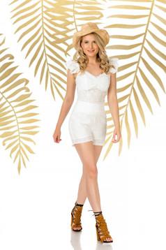 Fehér casual szűk szabású magas derekú rövidnadrág rugalmatlan pamutból