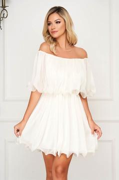 Fehér alkalmi rövid harang ruha váll nélküli