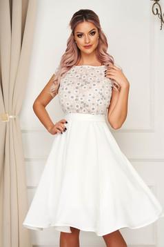 Fehér StarShinerS midi alkalmi harang ruha könnyű szövet horgolt csipke felsőrész