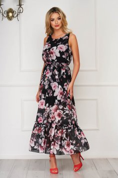 Fekete StarShinerS hosszú ujjatlan hétköznapi ruha muszlinból fodrok a ruha alján