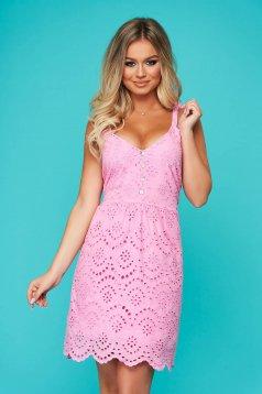 Pink rövid hétköznapi ruha horgolt csipke egyenes pántos