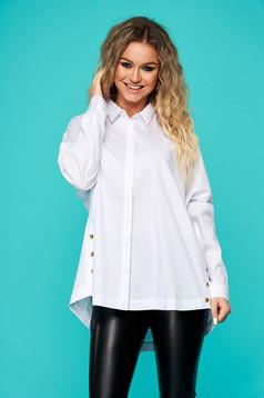 Fehér casual bő szabású asszimmetrikus női ing enyhén elasztikus pamut