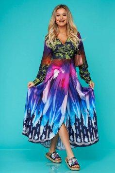 Kék hosszú hétköznapi harang ruha hosszú ujjakkal