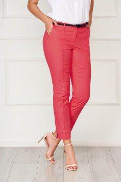 Pink zsebes kónikus irodai nadrág pamutból készült