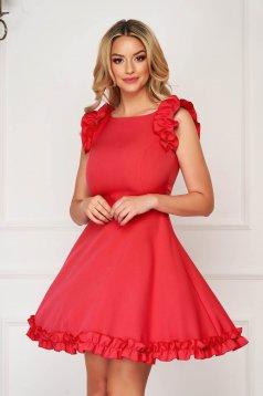 Piros elegáns rövid ruha szövetből fodros ujjakkal