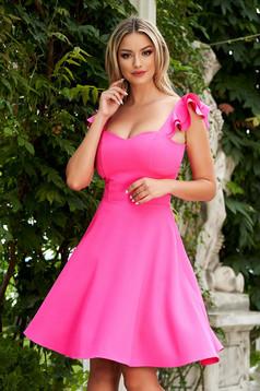 Pink StarShinerS fodros elegáns vékony anyagból rövid ruha szövetből