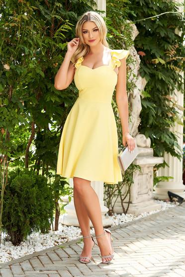 Sárga StarShinerS fodros elegáns vékony anyagból rövid ruha szövetből