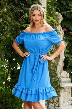 Kék midi hétköznapi bő szabású ruha szellős anyagból váll nélküli fazon
