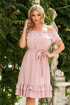 Púder rózsaszínű midi hétköznapi bő szabású ruha szellős anyagból váll nélküli