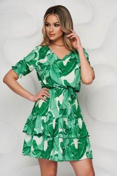 Zöld StarShinerS hétköznapi rövid ujjú rövid ruha szellős anyagból harang alakú gumirozott derékrésszel