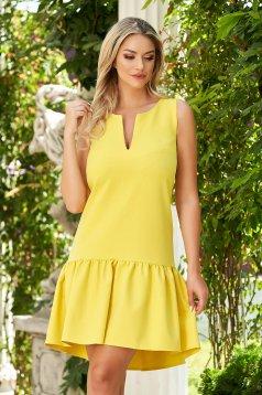 StarShinerS sárga rövid hétköznapi bő szabású ruha szövetből fodrok a ruha alján
