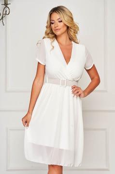 Fehér hétköznapi midi ruha harang alakú gumirozott derékrésszel muszlinból