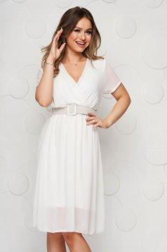 Fehér midi StarShinerS harang alakú ruha gumirozott derékrésszel muszlinból