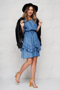 Kék fodros rövid farmer ruha