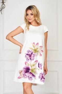 StarShinerS lila elegáns rövid ruha enyhén rugalmas anyagból virágmintás szövetből
