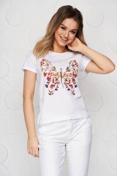 Fehér casual pamutból készült bő szabású póló grafikai díszítéssel