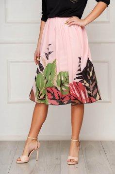 Világos rózsaszínű StarShinerS elegáns midi harang szoknya muszlinból magas derekú