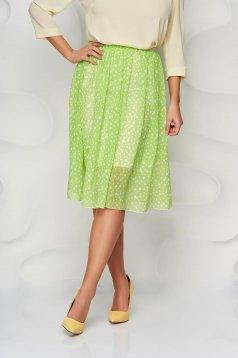 Zöld StarShinerS elegáns midi harang szoknya elasztikus csípővel muszlinból