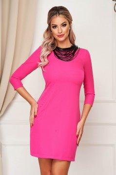 StarShinerS pink elegáns rövid egyenes ruha enyhén rugalmas szövetből