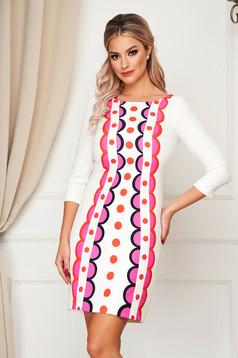 StarShinerS fehér elegáns egyenes rövid ruha szövetből geometrikus mintákkal