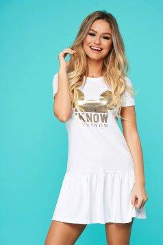 Fehér casual bő szabású ruha rugalmatlan pamutból
