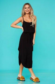 Fekete ujjatlan hétköznapi ruha gumírozott derekú szellős anyagból egyenes