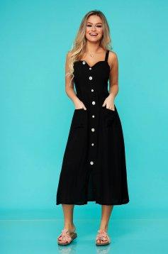 Fekete casual midi ruha rugalmatlan pamutból gomb kiegészítőkkel