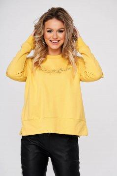 Sárga casual bő szabású női blúz rugalmatlan pamutból
