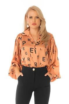 Narancssárga elegáns bő szabású női blúz bő ujjú szatén anyagból