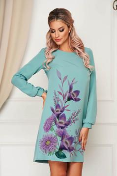 Türkizzöld StarShinerS virágmintás elegáns rövid ruha szövetből