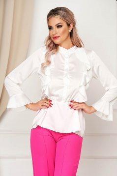 Fehér elegáns fodros bő szabású női ing szatén anyagból gumírozott derekú